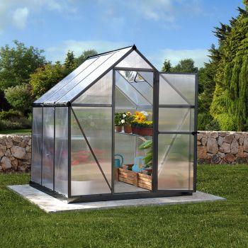 Palram - Canopia 6' x 6' Mythos Grey Polycarbonate Greenhouse