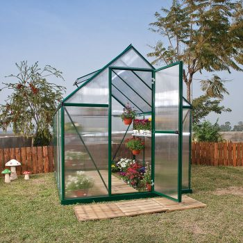 Palram 6' x 8' Mythos Green Polycarbonate Greenhouse