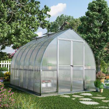 Palram - Canopia 8' x 12' Bella Siver Polycarbonate Greenhouse