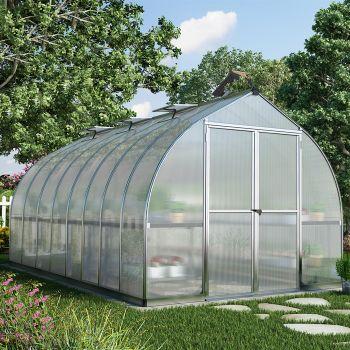Palram - Canopia 8' x 16' Bella Siver Polycarbonate Greenhouse