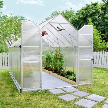 Palram 8' x 12' Essence Silver Polycarbonate Greenhouse