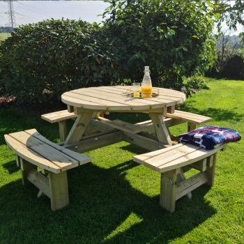 Moorvalley 8 Seater Round Picnic Table