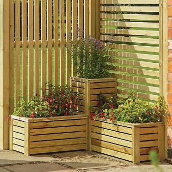 Rowlinson Slatted Corner Planter Set
