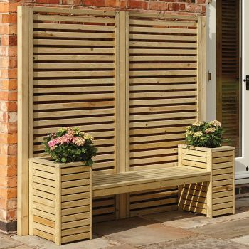 Rowlinson Slatted Planter Bench Set
