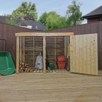 Adley Premium Pressure Treated Double Log Store With Door