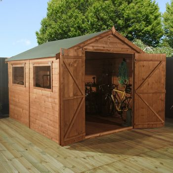 Adley 8' x 10' Premium Pressure Treated Double Door Shiplap Apex Shed