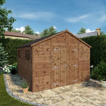 Adley 10' x 12' Premium Pressure Treated Double Door Shiplap Modular Workshop