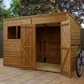 Adley 10' x 8' Pressure Treated Double Door Shiplap Pent Shed