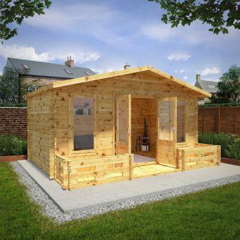 Adley 5m x 3m Lincoln Premium Log Cabin with Veranda