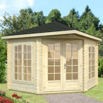 Stour 2.8m x 2.8m Huntingdon Corner Log Cabin