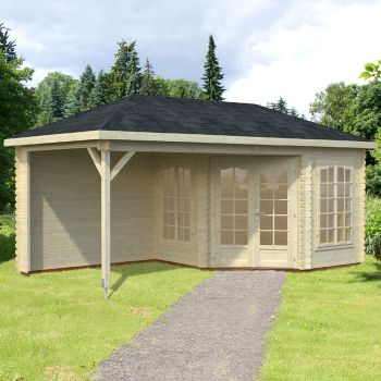 Stour 5.6m x 2.8m Huntingdon Corner Log Cabin With Veranda