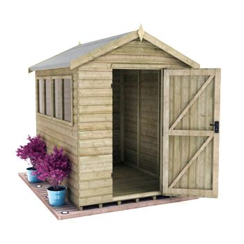 Redlands 6' x 8' Pressure Treated Deluxe Shiplap Apex Shed