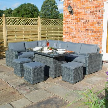 Rowlinson Thornbury Rattan Corner Dining Set With Height Adjustable Table - Grey Weave