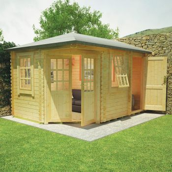 Redlands 4.2m x 3m Swinley Corner Log Cabin