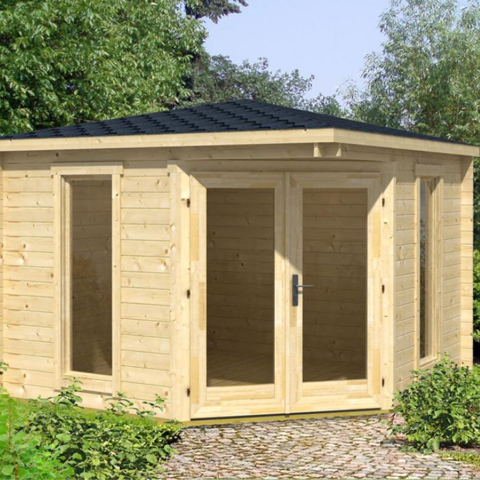 Image of Greenway 2.8m x 2.8m Ashdown Corner Log Cabin