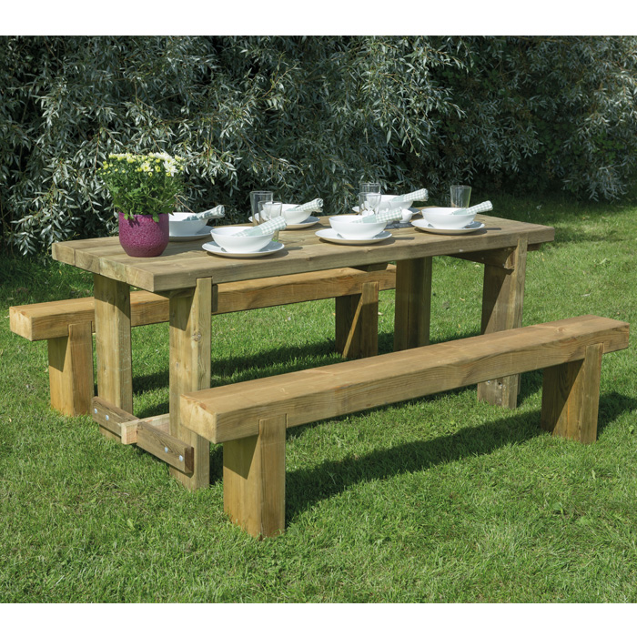 Image of Hartwood 1.8m Refectory Table & Sleeper Bench Set