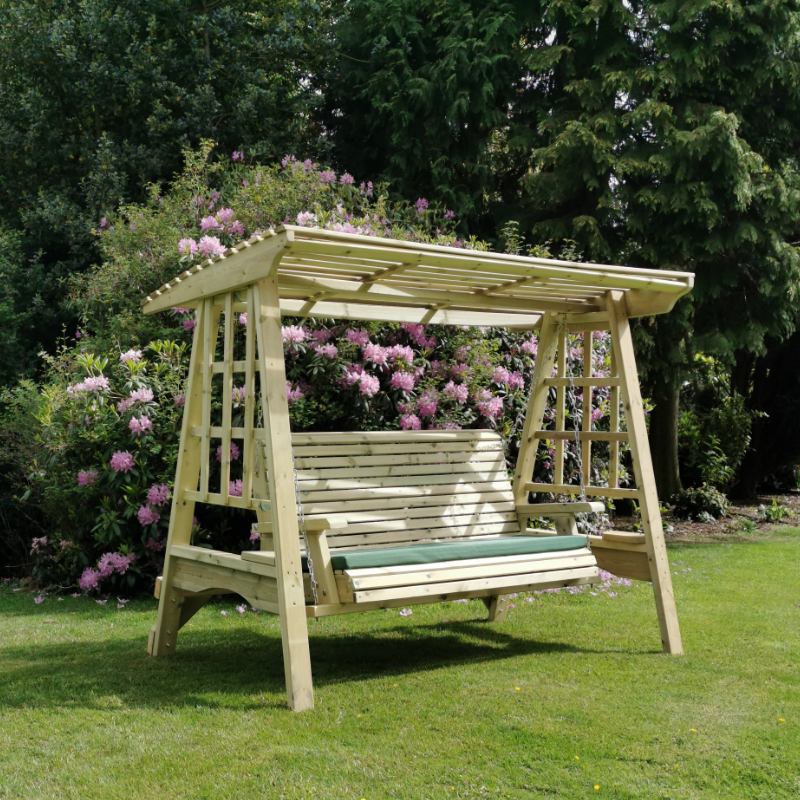 Image of Moorvalley 3 Seater Shaded Trellis Swing Seat