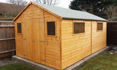 Adley 10' x 12' Premium Double Door Shiplap Apex Workshop