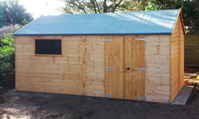 Adley 16' x 10' Premium Double Door Shiplap Reverse Apex Workshop