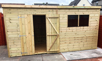 Adley 14' x 6' Pressure Treated Premium Double Door Shiplap Pent Shed