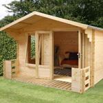 Avon 3.3m x 3.4m Newhaven Log Cabin with Veranda