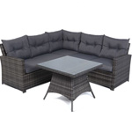 Mayfair 5 Seater Rattan Lounge Corner Sofa Set - Grey