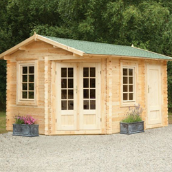 Hartwood 4m x 2.8m Left Sided Hunningham Log Cabin & Log Cabins with Side Storage - Why Buy a Log Cabin with a Side Shed?