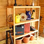 Avon 5ft Triple Tier Wooden Shed Shelf